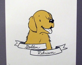 Golden Retriever Dog Breed Silkscreen Print