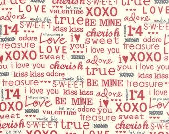 Moda -First Crush Fabric - 5607 13 - Sweetwater Seasonal Valentines XOXO Natural