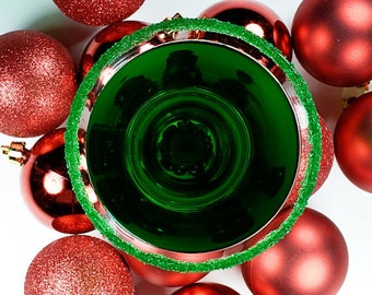 Green cocktail rimming sugar - martini sugar, holiday drink rimmer, Christmas drink garnish, mocktail rim sugar, glitter sugar sparkle sugar