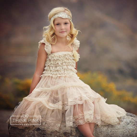 Flower girl dress, flower girl dresses, Lace Ivory flower girl dress, country flower girl dress, baby dresses, rustic flower girl dress,