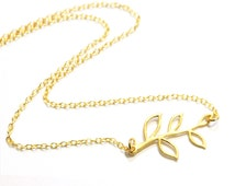 Gold Leaf Necklace - Dainty leaf branch charm necklace - gold branch jewelry - wedding simple bridesmaid everyday eco environmental