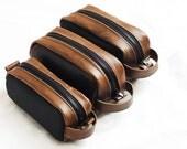 Toiletery bag, , groomsmen gift, leather dopp kit, shaving kit, makeup kit, grooming kit, Christmas gift, Valentine gift  - Made in USA