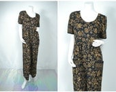 90s 80s brown tribal empire waist jumpsuit
