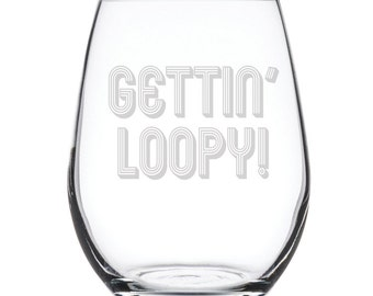 Stemless White Wine Glass-17 oz.-7832 Getting Loopy