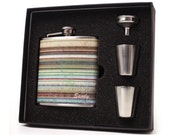 Personalized flask gift set with shot cups, funnel and gift box // 6oz rustic stripe flask