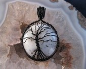 Wire wrapped pendant with Dendritic Opal