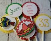 Fiesta Cupcake Toppers - First Fiesta Decor - Fiesta Party Decor