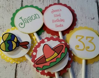 Fiesta Cupcake Toppers - Fiesta First Birthday - Cinco De Mayo Decorations - Fiesta Decorations - Fiesta Party Supplies - First Fiesta Party