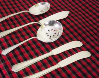 Sterling Silver Condiment Set, Small Flatware Set, Butter Spreader Knife, Serving Spoon, Jelly Spoon, International Silver Moonglow