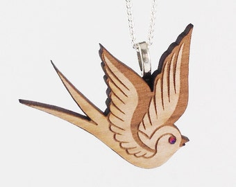 Wood Swallow Necklace - Tattoo Inspired