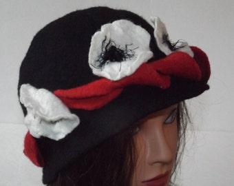 Nuno Felted Hat  Art To Wear  Hand made, OOAK, Designer hat, black hat, flowers hat. Winter hats, black hat, wool hat
