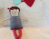 VALENTINE'S DAY ragdoll - handmadd doll - ooak - gray with hearts and red legs - brunette