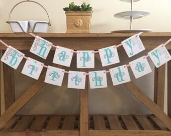 Happy Birthday Garland Banner | Custom Colors Happy Birthday Sign | Boy / Girl / Adult / Any Theme