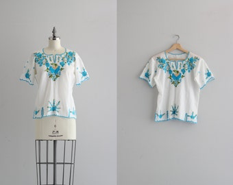 1970s Oaxacan Blouse . Vintage Mexican Blouse . Festival Style Embroidered Shirt