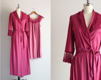 60s Lingerie Set . Mauve Robe and Nighty . Retro Nightgown