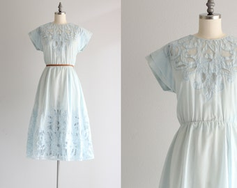 Vintage Dress . Powder Blue 60s Dress . 1960s Cutout Dress . Cotton Day Dress