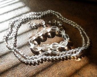 Vintage Sterling Silver Rock Crystal Quartz Gemstone 3 Piece Jewelry Set
