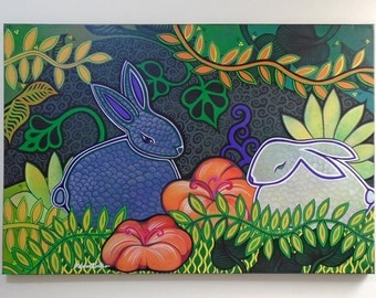 "Original Acylic Painting, ""Rabbits in the garden"" 2010"