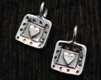 Sterling Silver Heart Charms - 2 Adorably Sweet Framed Heart Charms - C207