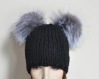 Black Double Pompom Beanie Kylie Jenner Hat 2 Fur Bobbles Hat CHOOSE COLOR Ski Women Hat Kylie Jenner Style Christmas Gift under 100