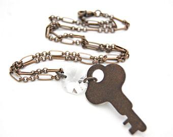 Key Pendant Necklace/ Key Necklace/ Crystal Pendant Necklace/ Key Jewelry/ Repurposed Necklace/ Long Pendant Necklace/ Industrial Jewelry
