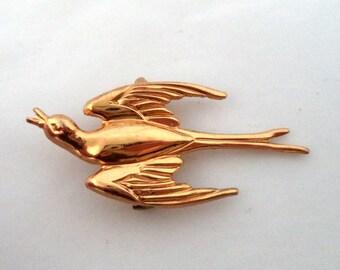 Coro Pegasus Swallow Bird in Flight Brooch Pin Signed