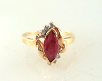 Ruby Diamond Ring 10K Yellow Gold Size 6