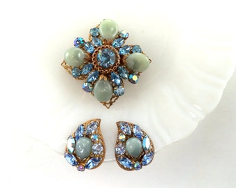 Vintage Regency Brooch Earrings Set Signed Blue Rhinestone Blue Art Glass Beads