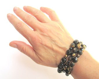Black and Gold Czech Glass Bracelet  Memory Wire Stacking Cuff Bracelet  Gold and Black Chunky Bracelet Arm Candy