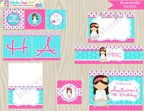 Spa Party Printable Package - Choose your girl - Please READ Listing