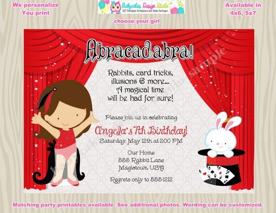 Magic Show Invitation Magic Show birthday invitation magic show invite girl magic show  DIY printable CHOOSE your GIRL