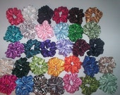 10 Satin Hair Scrunchies Handmade  32 Colors To Choose From   4 NEW COLORS ADDED