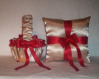 Champagne Satin With Red Trim Flower Girl Basket And Ring Bearer Pillow Set 2