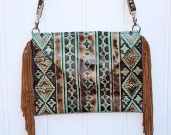 Turquoise and Brown embossed leather clutch or crossbody
