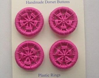 Dorset Buttons, Handmade Buttons, Plastic & Cotton Buttons, Four Pink Dorset Buttons, Artisan Dorset Buttons, Unique Magenta Buttons