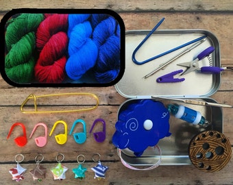 Yarn: The Knitter's Tool Altoid Tin with notions for your Knitting Project Bag