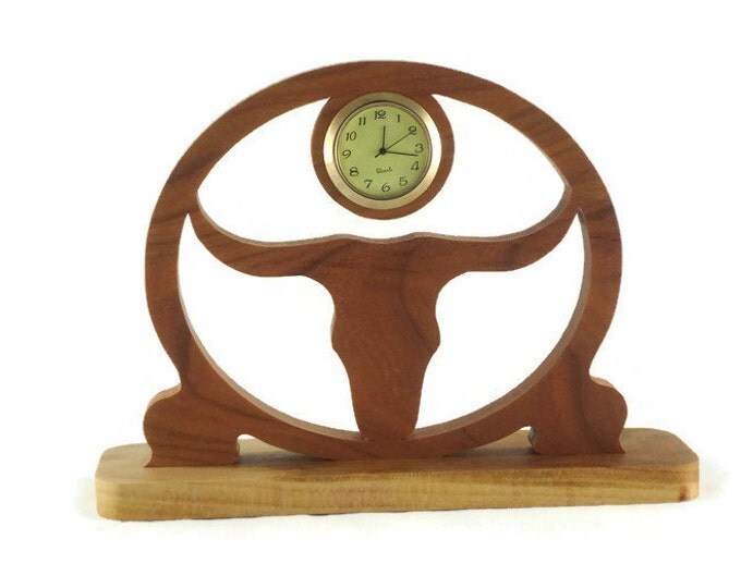Texas Longhorn Desk Clock Handmade From Cherry Wood