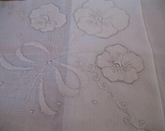 Vintage Handkerchief,  White Madeira Bridal Hanky