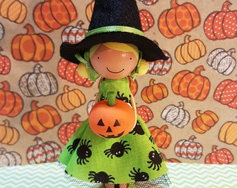 Tally Halloween Witch Miniature Wooden Clothespin Doll
