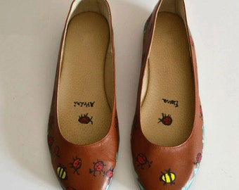 LEATHER FLATS! Tobacco Leather flats, painted leather flats