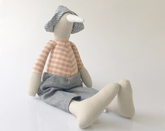 Natural beige linen bird doll in dotted beak, Peach plaid shirt , gray hat & Jeans - Stuffed Duck rag doll - timo handmade unique toy