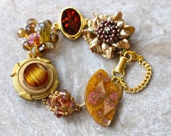Bridesmaid Gift, Vintage Earring Bracelet, Copper, Gold, Upcycled, Bridesmaid Bracelet, Christmas Gift, Jennifer Jones, OOAK, Bronze Goddess