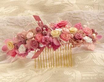 Floral bridal headpiece bridal floral headpiece wedding hair flower hair comb pink flowers bridal head piece wedding boho hair comb flower