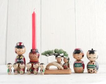 Vintage Kokeshi Doll Collection - 11 Japanese Folk Art Painted Wood Miniature Peg Dolls