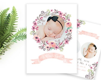 5x7 PRINTABLE Baby Girl Announcement Watercolor Flower Design 1 Front and Back Design