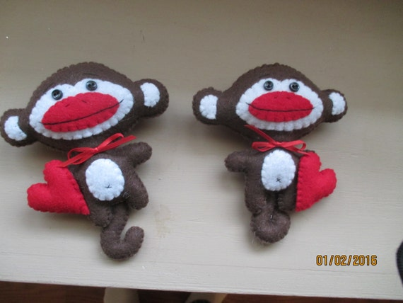 Felt Sock Monkey with heart Ornament or tuck