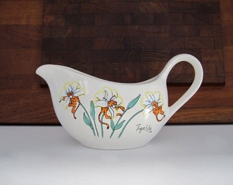 Vintage Ceramic Gravy Boat Floral Tiger Lily Petal Pets 1989 Artmark Made in Japan  Humorous Dinnerware  Orange Teal Cartoon Gardener Gift