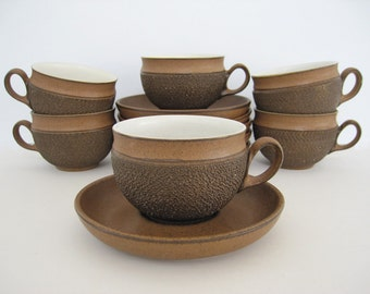 Vintage Coffee Tea Cup and Saucer Set Flat Cups Teacup Denby Cotswold England 1970s English Stoneware Rustic Textured Brown Pottery