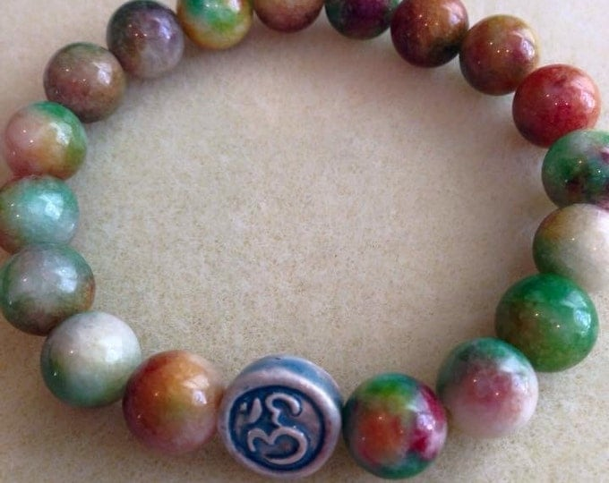 Tie Dye Candy Jade Ohm Raku Ceramic 10mm Yoga Round Bead Stretch Bracelet