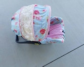 Sweet Floral 3D rose accent Infant car seat cover with optional 3d rose accent blanket - Custom Order with FREE Strap Covers